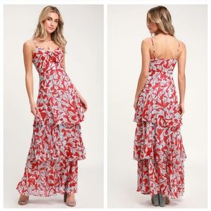 Lulus Saturday Sunrise Floral Tiered Maxi Dress